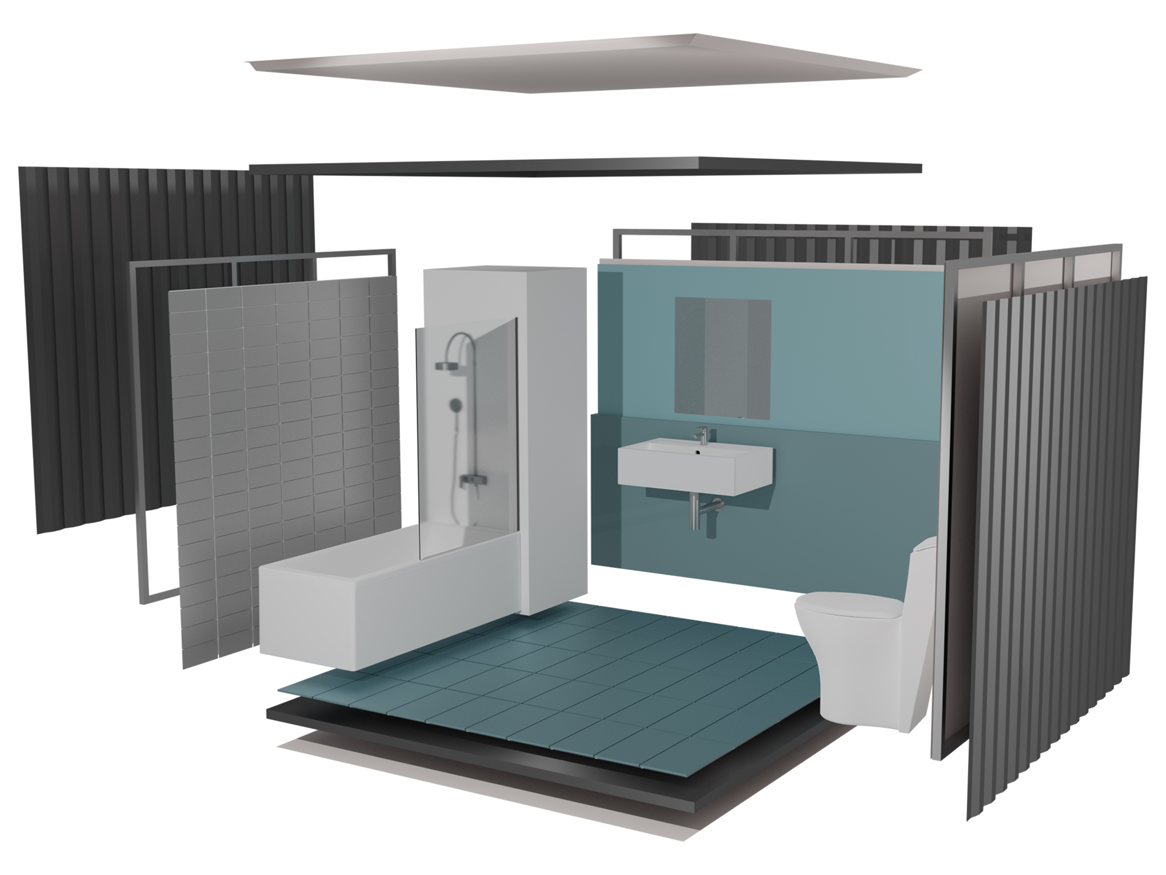 Exploded view illustration of bathroom pod for modular building construction