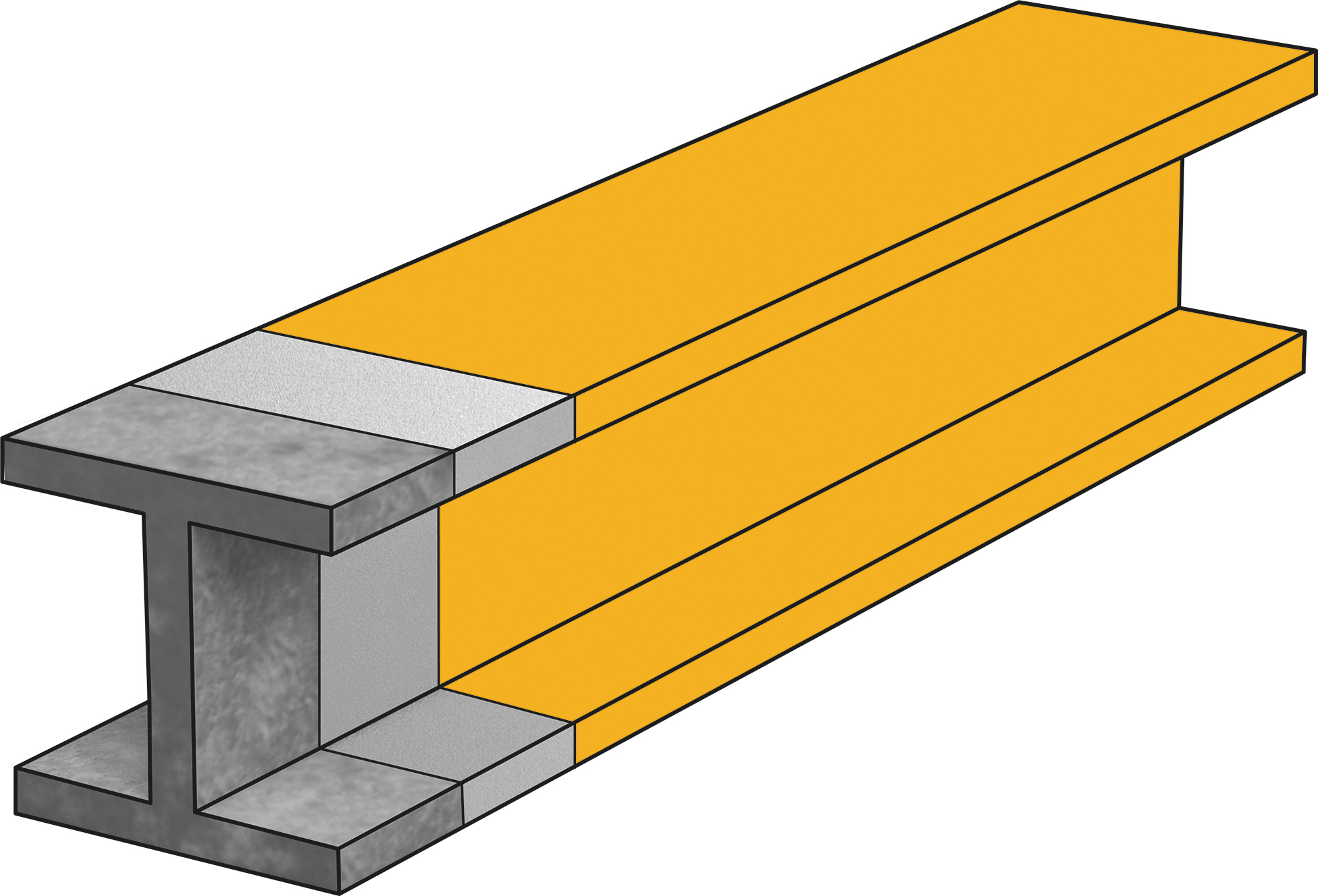 Illustration of beam with intumescent coating passive fire protection